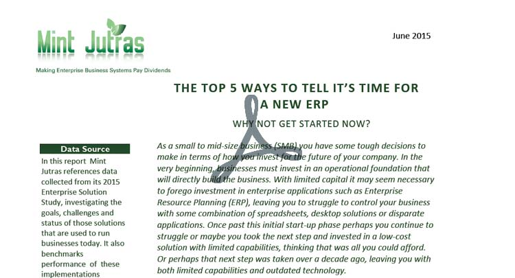 Whitepaper: Top 5 Ways to Tell it's Time for a New ERP